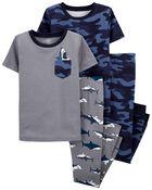 Pyjamas 4 pièces en coton ajusté camouflage, , hi-res
