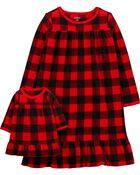 Ensemble 2 robes de nuit à carreaux buffalo coordonnées pour elle et sa poupée , , hi-res