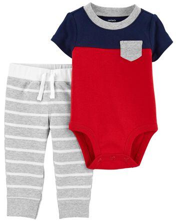 2-Piece Colourblock Bodysuit Pant S...