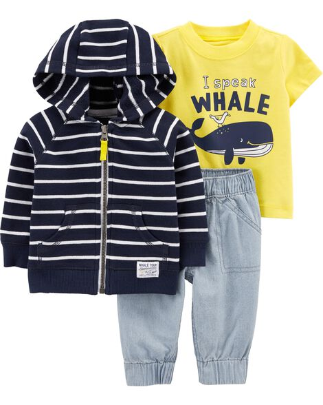 3-Piece Whale Little Jacket Set