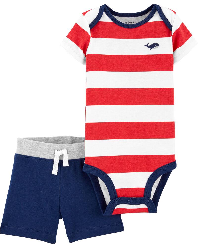 2-Piece Striped Bodysuit Short Set, , hi-res