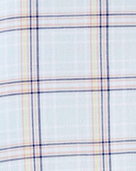 Barboteuse boutonnée en coton à motif écossais