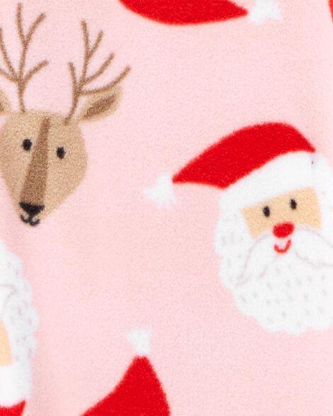 Pyjama 1 pièce à pieds en molleton avec Père Noël