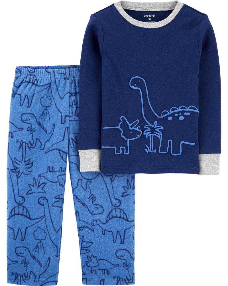 Pyjama 2 pièces en molleton et coton ajusté à motif de dinosaure, , hi-res