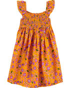 Floral Smocked Viscose Dress, , hi-res