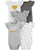 5-Pack Flutter-Sleeve Original Bodysuits, , hi-res
