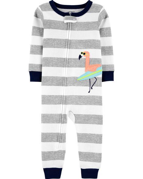 Pyjama 1 pièce sans pieds en coton ajusté à motif flamant
