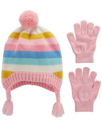 2-Pack Rainbow Hat & Mitten Set