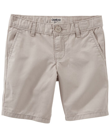 Flat-Front Twill Shorts