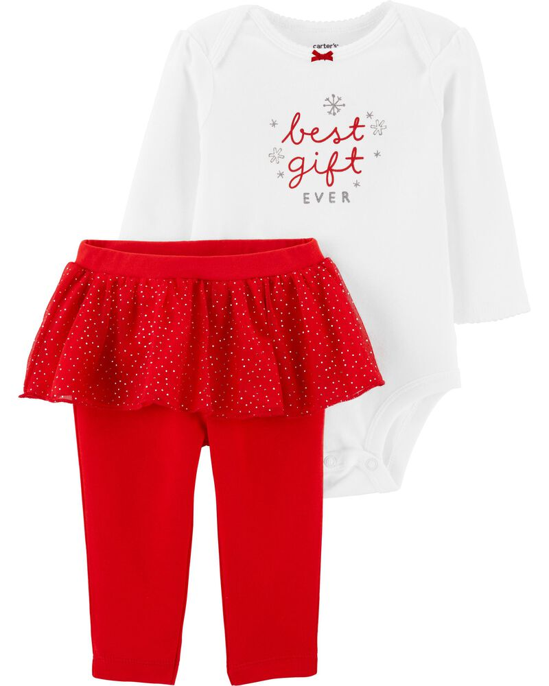 2-Piece Christmas Bodysuit & Tutu Pant Set, , hi-res