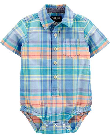 Plaid Short Sleeve Button-Front Bodysuit