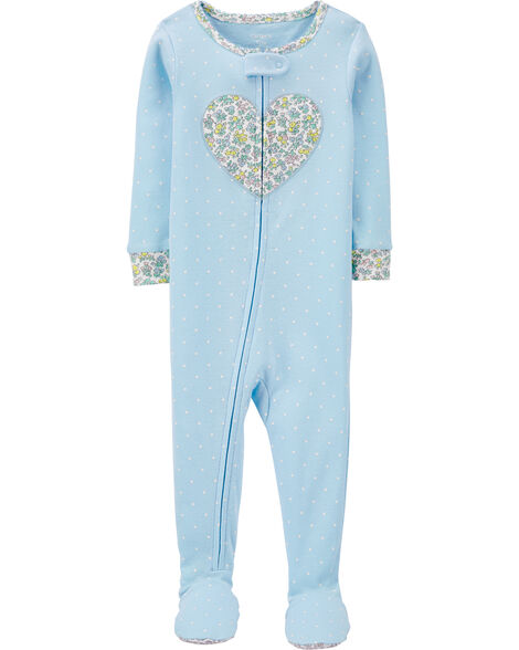 Pyjama 1 pièce à pieds en coton ajusté motif cœur fleuri