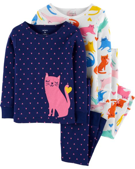4-Piece Cat Snug Fit Cotton PJs