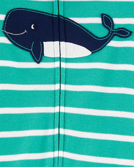 1-Piece Whale Snug Fit Cotton Footless PJs