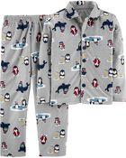 2-Piece Penguin Coat Style Fleece PJs, , hi-res