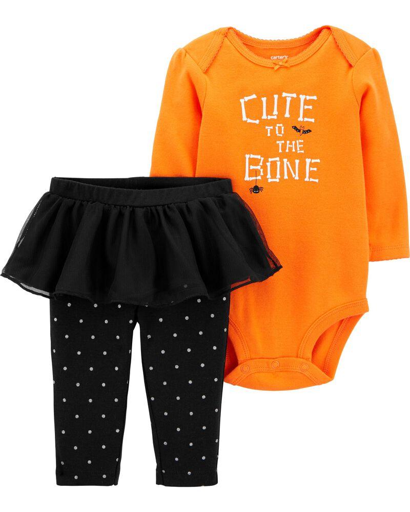 Ensemble d'Halloween 2 pièces cache-couche et pantalon avec tutu, , hi-res