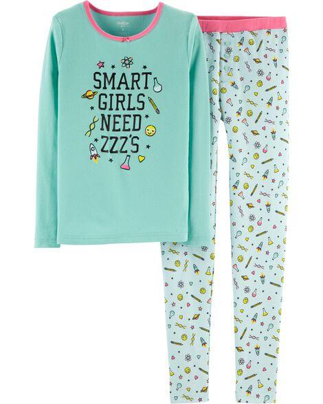 Pyjama 2 pièces en coton ajusté à slogan Smart Girl