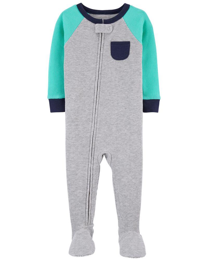 Pyjama 1 pièce à pieds en coton ajusté de couleurs contrastantes , , hi-res