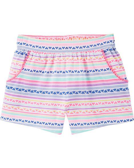 Stripes Pom-Trim Shorts