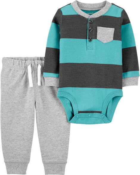 2-Piece Rugby Striped Bodysuit Pant Set