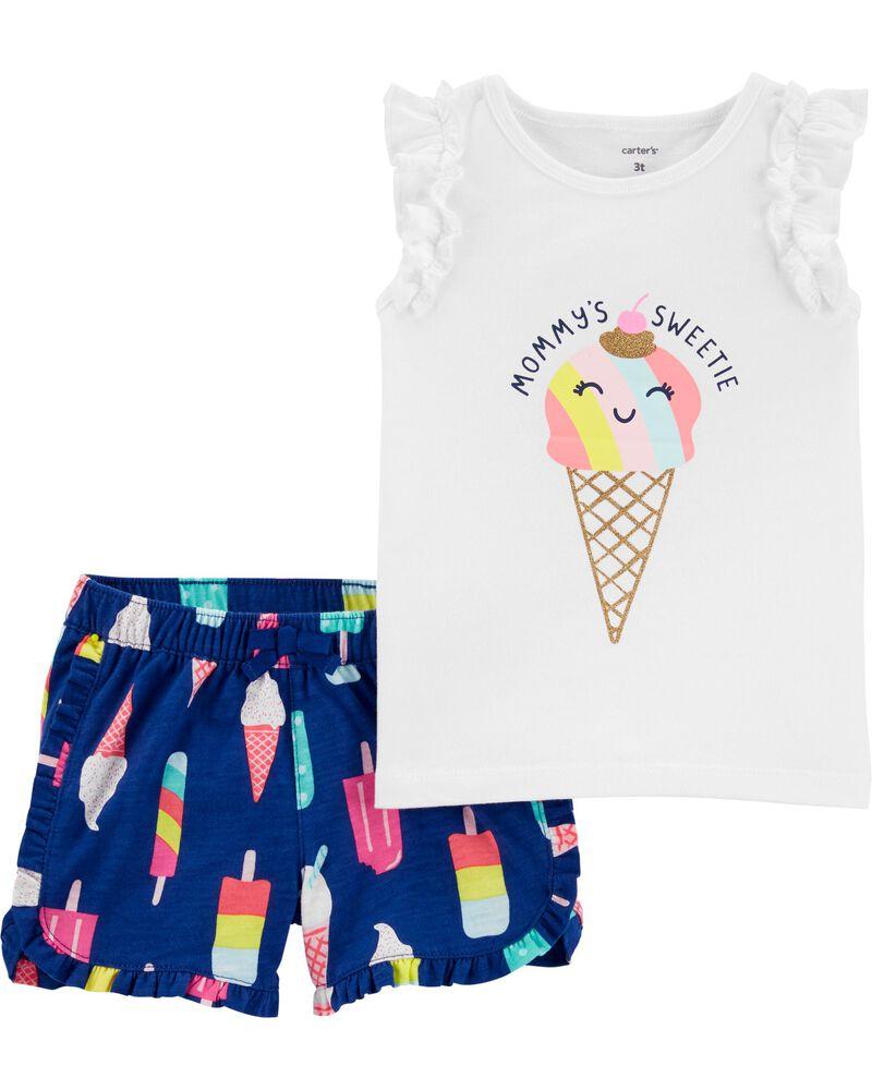 Ensemble 2 pièces t-shirt volanté à cornet de crème glacée et jupe-short, , hi-res