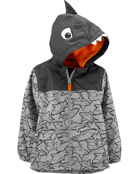 Fleece-Lined Shark Windbreaker Jacket