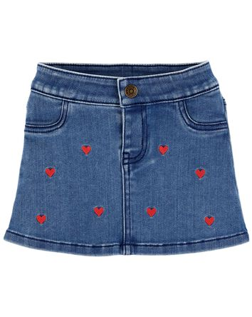 Valentine's Day Heart Denim Skirt