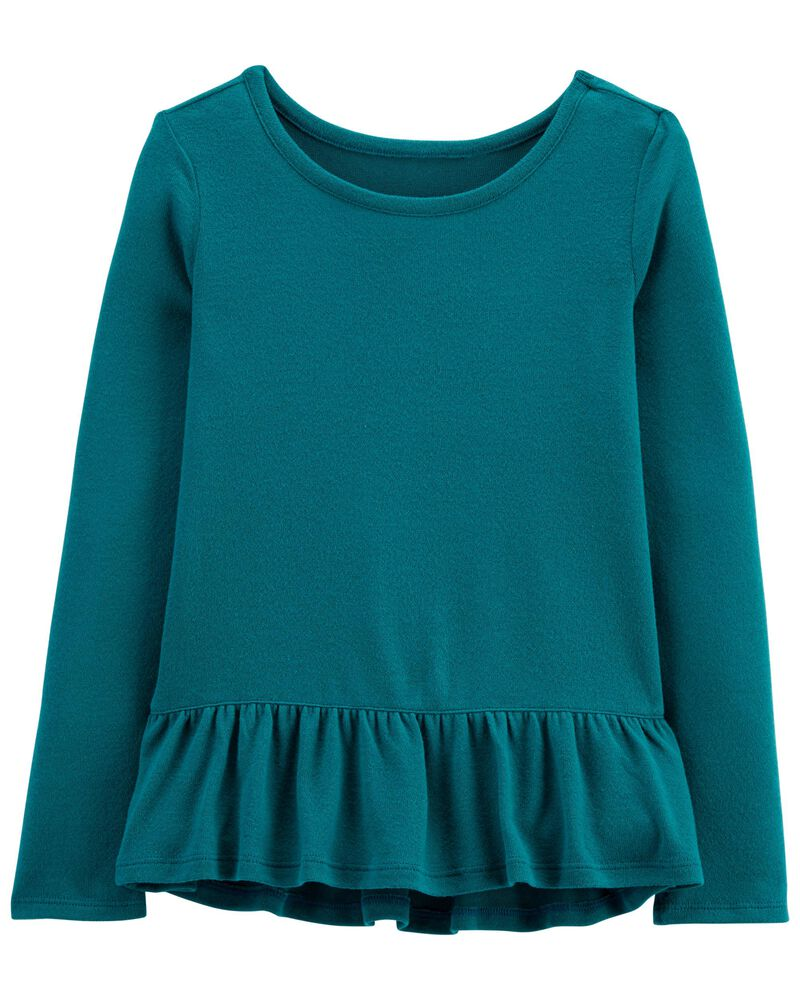 Hi-Low Ruffle Peplum Top, , hi-res