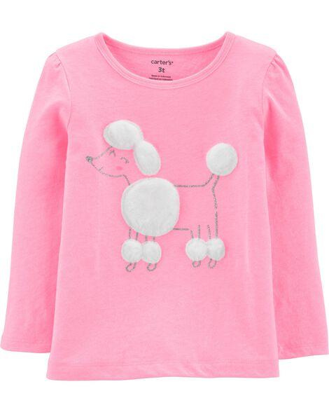 T-shirt en jersey caniche scintillant fluo