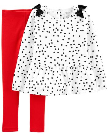 2-Piece Polka Dot Top & Legging Set