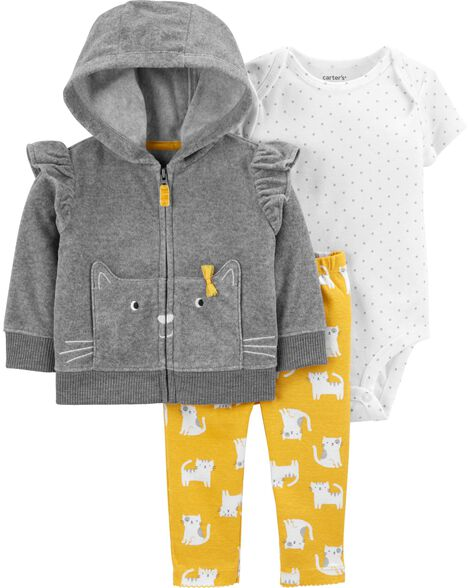 3-Piece Cat Little Jacket Set