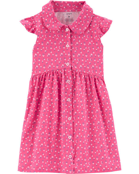 Floral Button-Front Shirt Dress
