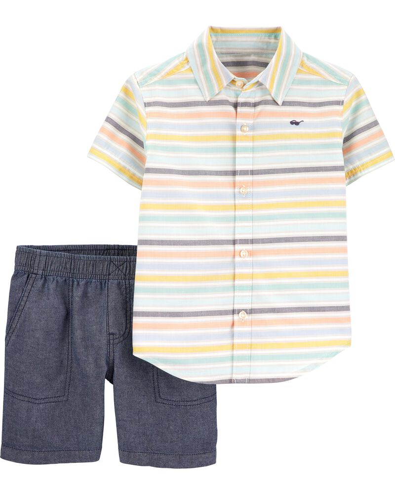 2-Piece Striped Button-Front & Chambray Short Set, , hi-res