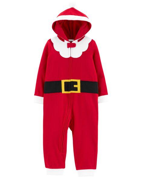 Pyjama 1 pièce à capuchon en molleton sans pieds motif habit de Père Noël