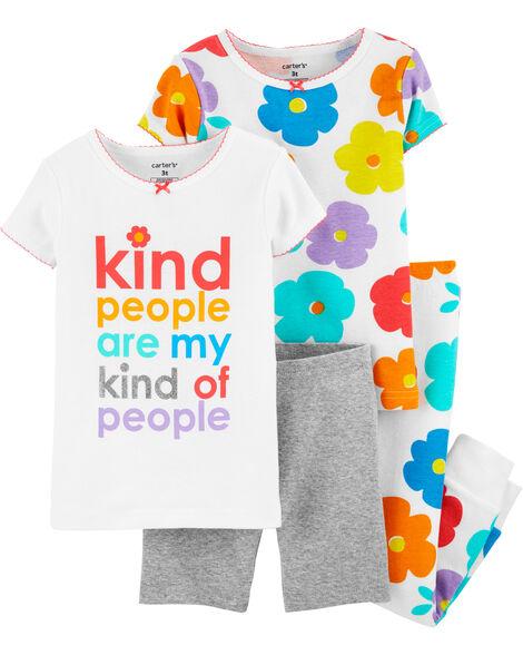 Pyjamas 4 pièces en coton ajusté à fleurs