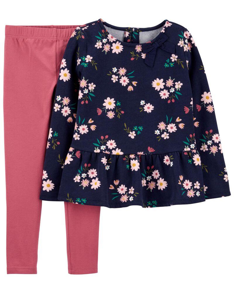 2-Piece Floral Peplum Top & Legging Set, , hi-res