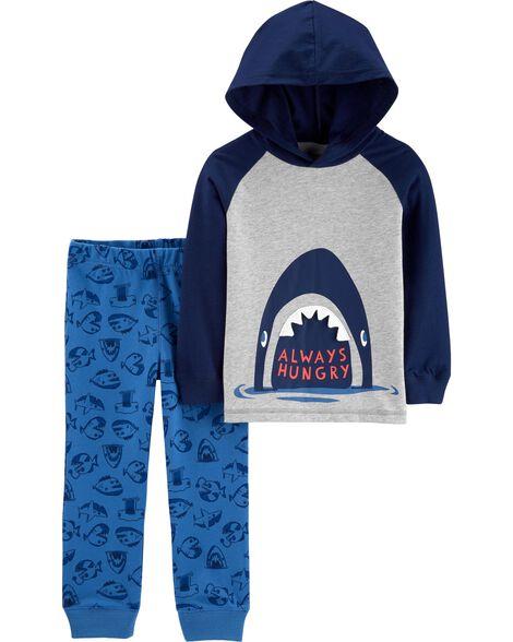 Ensemble 2 pièces t-shirt à capuchon avec requin et pantalon de jogging