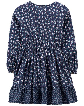 Mixed Print Poplin Dress