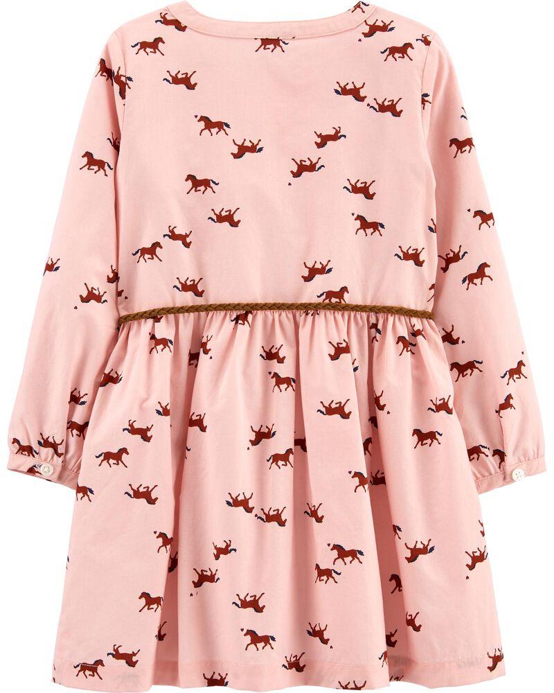 Horse Belted Shirt Dress, , hi-res