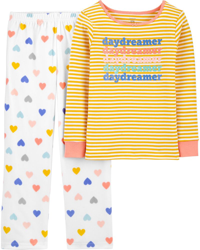 2-Piece Daydream 100% Snug Fit Cotton & Fleece PJs, , hi-res