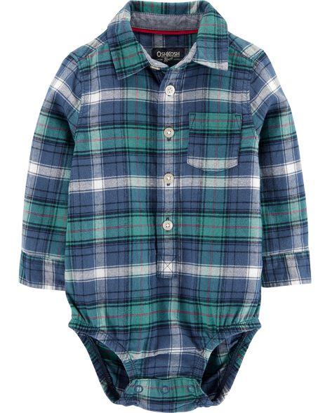 Flannel Button-Front Bodysuit