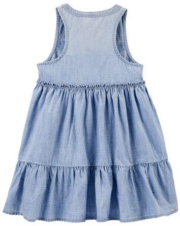 Ruffle Chambray Shirt Dress in Barc...