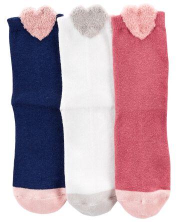 3 paires de chaussettes à cœurs