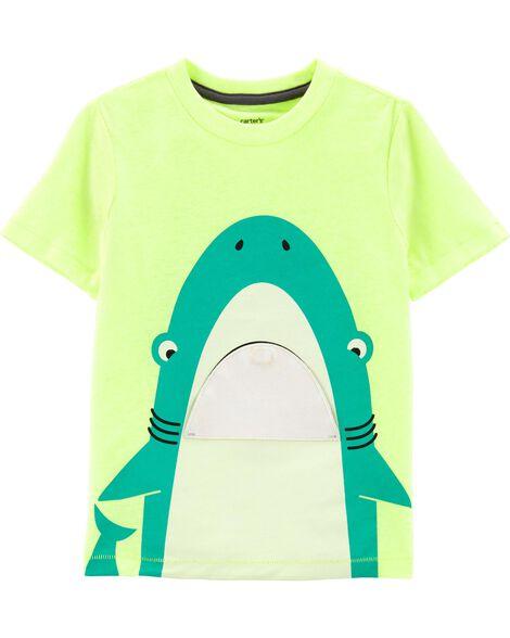 T-shirt en jersey chiné à requin néon avec rabat interactif