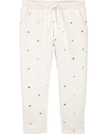 Heart Print Logo Fleece Pants