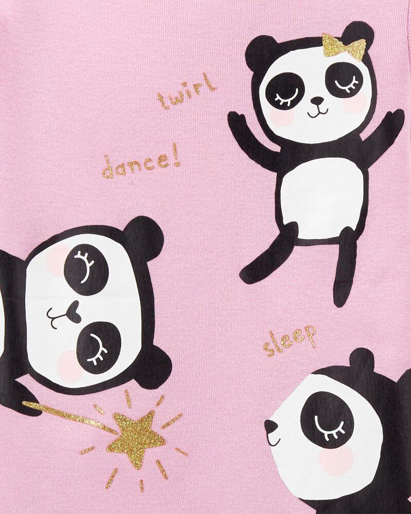 Pyjama 4 pièces en coton ajusté à panda, , hi-res