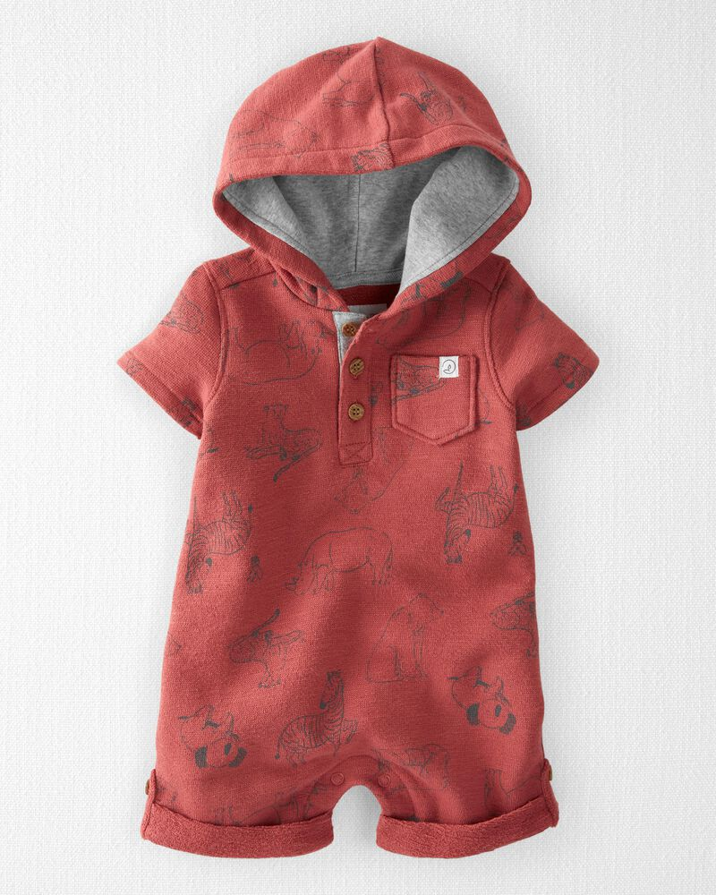 Organic Cotton Hooded Sunsuit, , hi-res