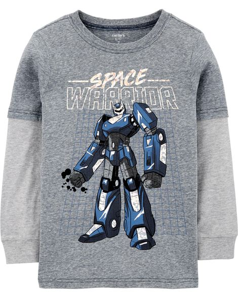 T-shirt à manches de style superposé à robot