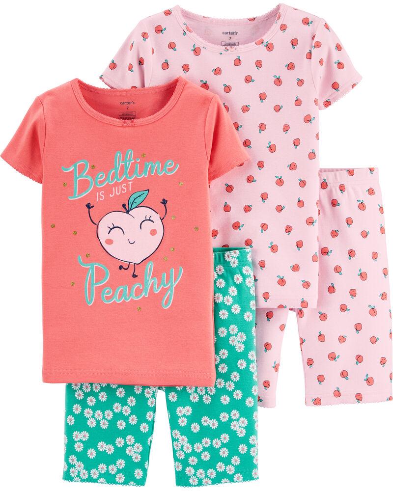 4-Piece Peach Snug Fit Cotton PJs, , hi-res