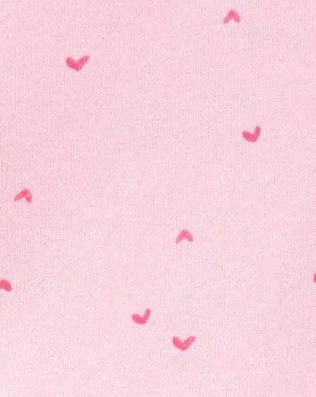 Heart Print Lace Trim Sweatshirt